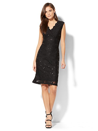 Sequin Lace Overlay Sheath Dress - New York & Company