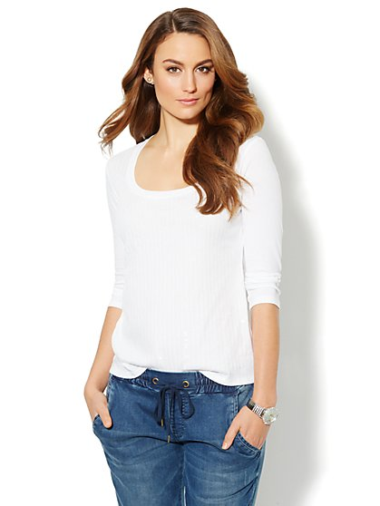 Sequin Madison 3/4-Sleeve Tee - New York & Company