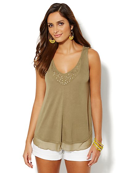 Sequin Mesh-Trim Top  - New York & Company