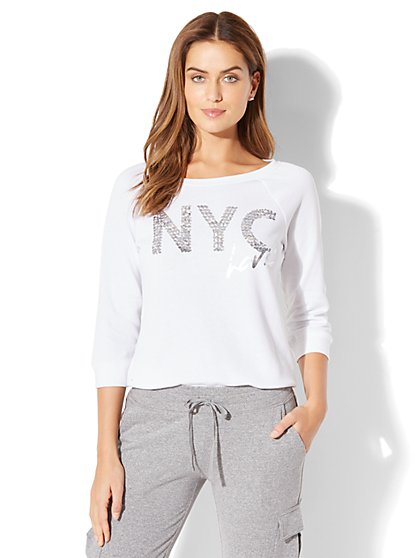 "Sequin ""NYC Love"" Graphic Logo Sweatshirt - New York & Company"