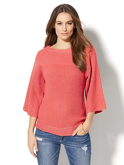 Sequin Ribbed-Knit Sweater - New York & Company