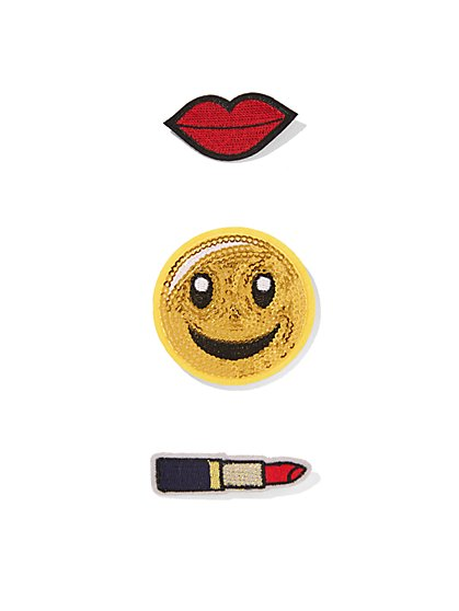 Sequin Smiley Face Patch Set  - New York & Company