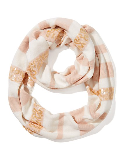 Sequin Stripe Infinity Scarf  - New York & Company