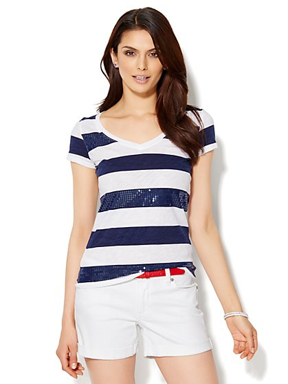 Sequin Stripe Tee - New York & Company