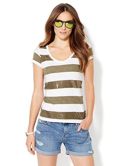 Sequin Stripe Tee - New York & Company