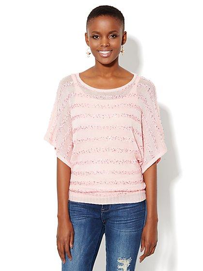 Sequin Striped Dolman Sweater - New York & Company