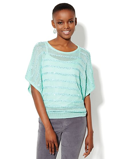 Sequin Striped Dolman Sweater - New York & Company