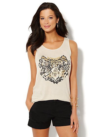Sequin Tiger Hi-Lo Tank Top  - New York & Company