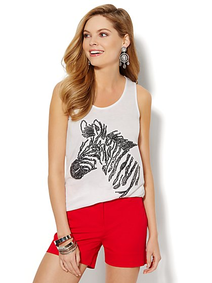 Sequin Zebra Hi-Lo Tank Top  - New York & Company