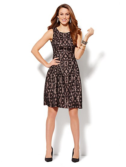 Sequined Lace Flare Dress  - New York & Company