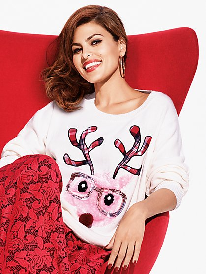Sequined Reindeer Sweater  - New York & Company