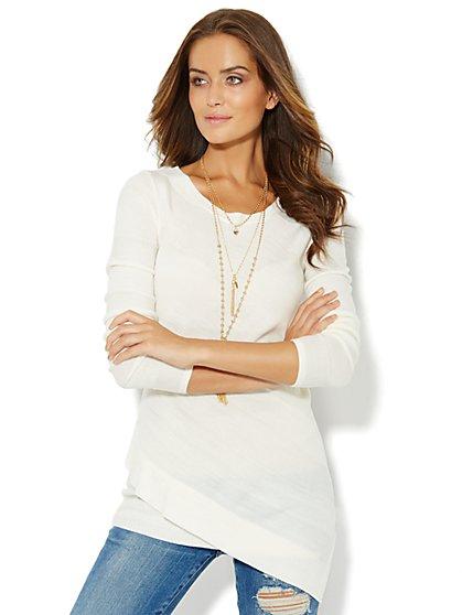 Shadow-Stripe Asymmetrical Sweater  - New York & Company