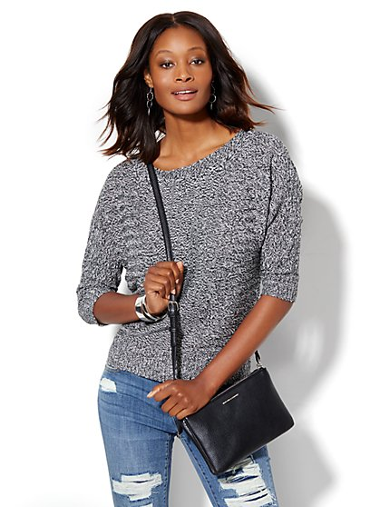 Shadow-Stripe Dolman Pullover - Marled Knit  - New York & Company