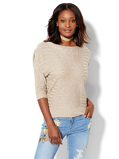 Shadow-Stripe Dolman Pullover Sweater - Marled Knit  - New York & Company