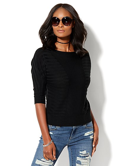 Shadow-Stripe Dolman Pullover Sweater - New York & Company