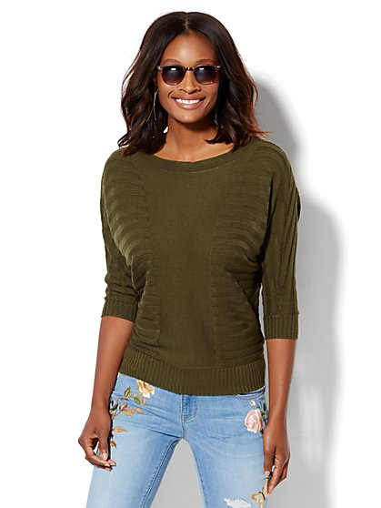 Shadow-Stripe Dolman Pullover  - New York & Company