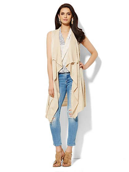 Shadow-Stripe Duster Vest  - New York & Company