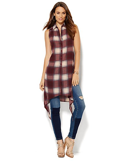 Sharkbite Extreme Tunic - Plaid - New York & Company