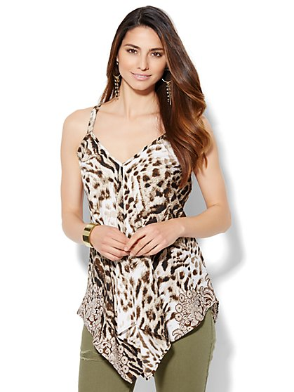Sharkbite Halter Blouse - Leopard Print  - New York & Company