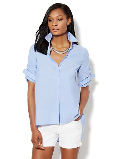 Sharkbite-Hem Tunic - Dashing Blue - New York & Company