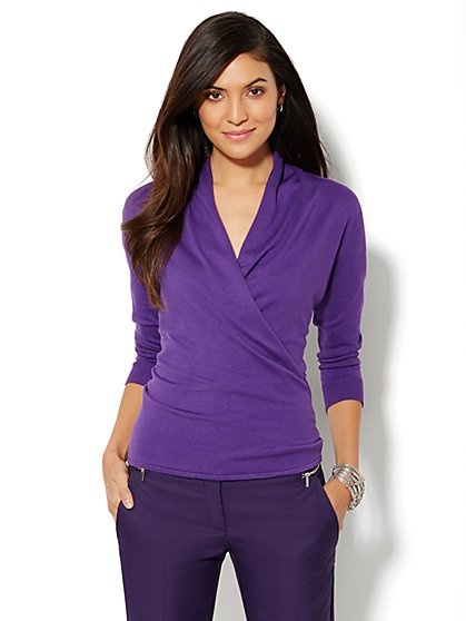Shawl-Collar Wrap Pullover  - New York & Company