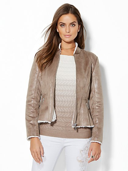 Shearling-Lined Peplum Jacket - New York & Company