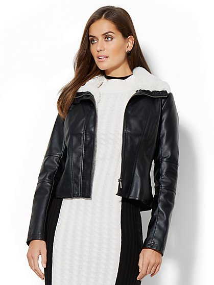 Shearling-Trim Faux-Leather Jacket - New York & Company