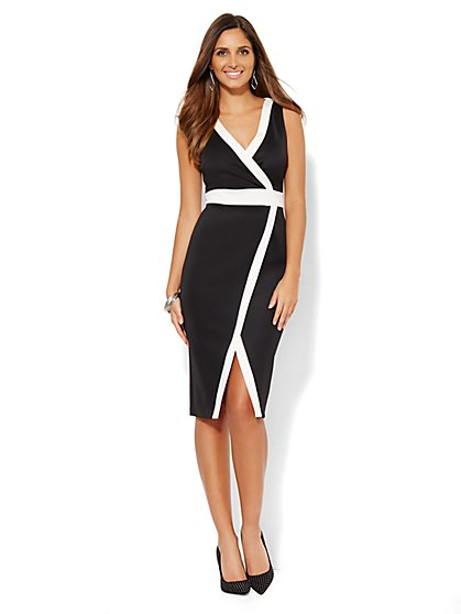 Sheath Wrap Dress - Colorblock - Black & White  - New York & Company