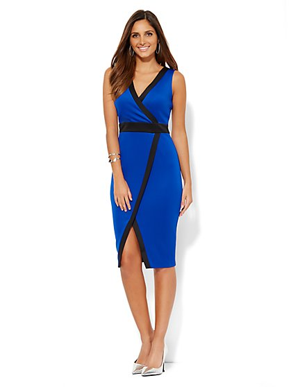 Sheath Wrap Dress - Colorblock  - New York & Company