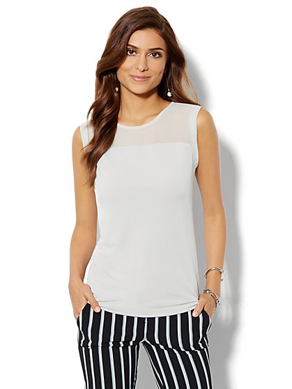 Sheer-Yoke Sleeveless Top - New York & Company