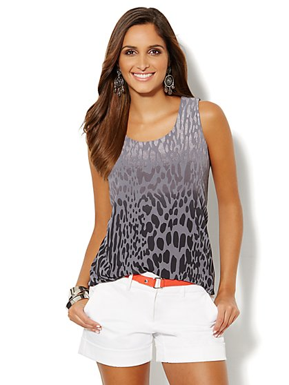 Shimmer Animal-Print Sleeveless Top - New York & Company