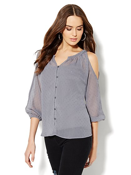 Shimmer Clip-Dot Cold-Shoulder Blouse - New York & Company
