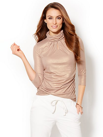 Shimmer Keyhole Turtleneck   - New York & Company