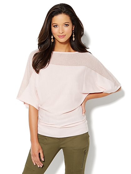 Shimmer Kimono-Sleeve Sweater - New York & Company