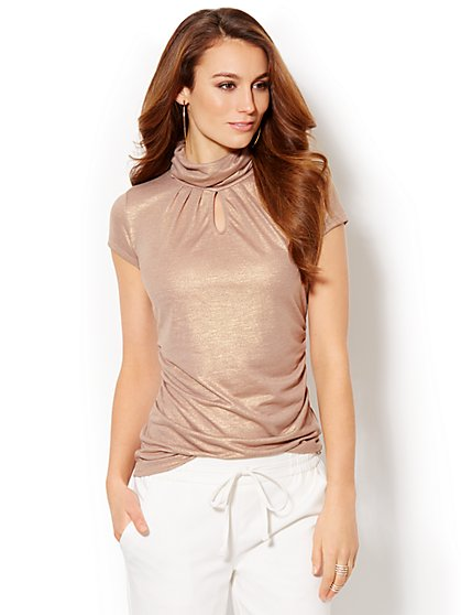 Shimmer Short-Sleeve Turtleneck  - New York & Company