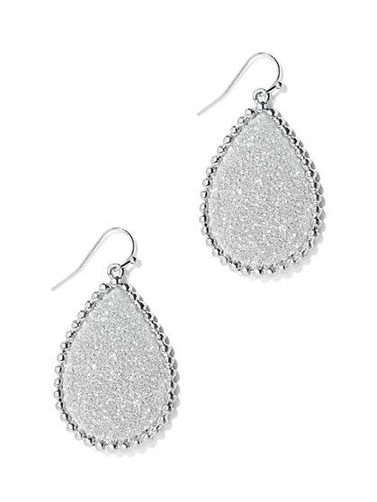 Shimmer Silvertone Teardrop Earring  - New York & Company