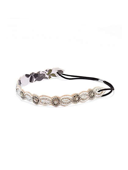 Shimmering Beaded Headband  - New York & Company