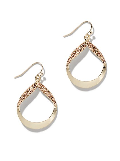 Shimmering Faux-Stone Drop Earrings - New York & Company