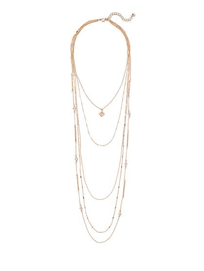 Shimmering Five-Row Layered Necklace  - New York & Company