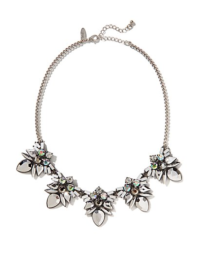 Shimmering Floral Bib Necklace  - New York & Company