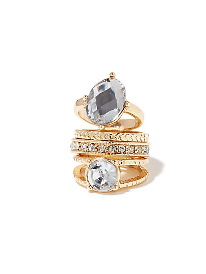 Shimmering Goldtone Stacked Ring - New York & Company