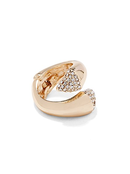Shimmering Pavé Open Ring - New York & Company