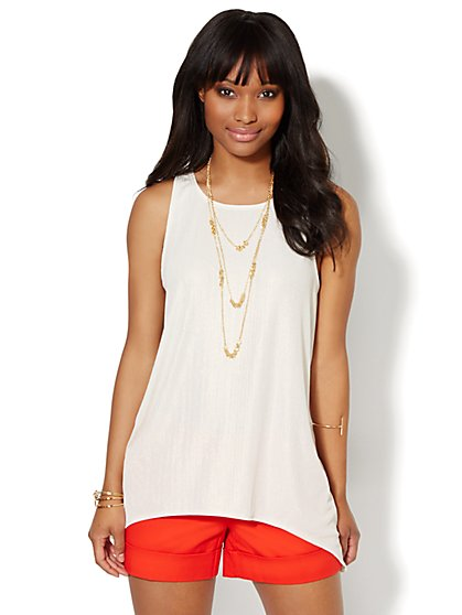 Shimmering Sharkbite Sleeveless Top  - New York & Company