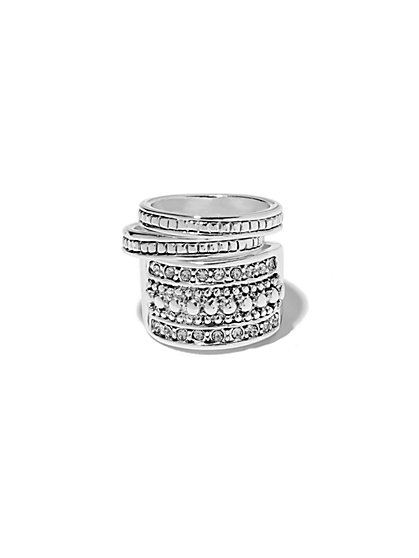Shimmering Textured Stacked Ring  - New York & Company