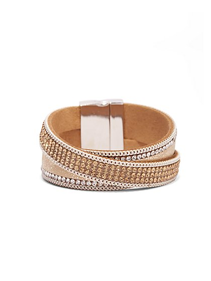 Shimmering Two-Row Wrap Bracelet  - New York & Company