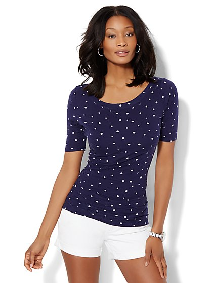Shirred Bateau-Neck Top - Scroll Print - Polka-Dot Print  - New York & Company