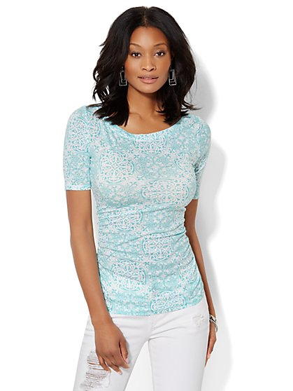 Shirred Bateau-Neck Top - Scroll Print  - New York & Company