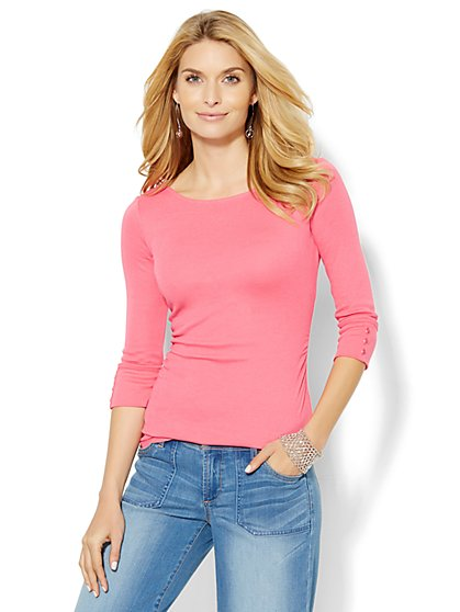Shirred Bateau-Neck Top - Solid   - New York & Company