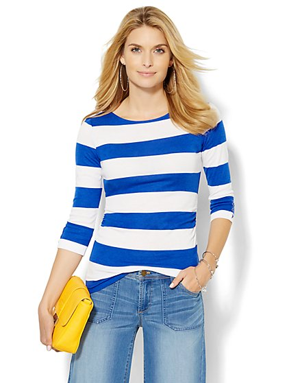 Shirred Bateau-Neck Top - Stripe  - New York & Company