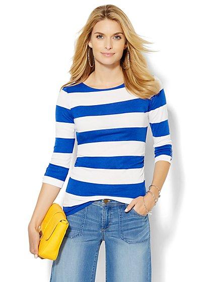 Shirred Bateau-Neck Top - Stripe  - New York & Company